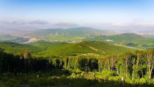 谷の緑の山々と村の眺め。広角パノラマ