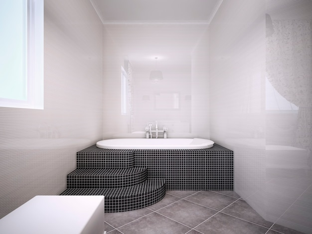 광택이 나는 벽이 옅은 복숭아 색인 욕실의 자쿠지 전망. 인테리어에 어두운 타일 사용. 3d 렌더링
