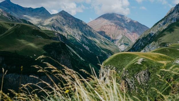 조지아주 카즈베기의 전경. 아름 다운 자연 산 배경입니다. 여름