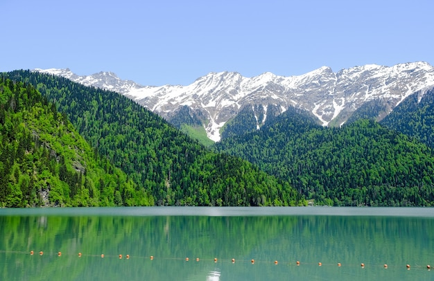 春、雪をかぶった山々のアブハジアのリツァ湖(リザ)のビュー