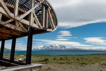 View of lake with mountains from Tierra Patagonia Hotel & Spa, Torres del Paine National Park, Patag
