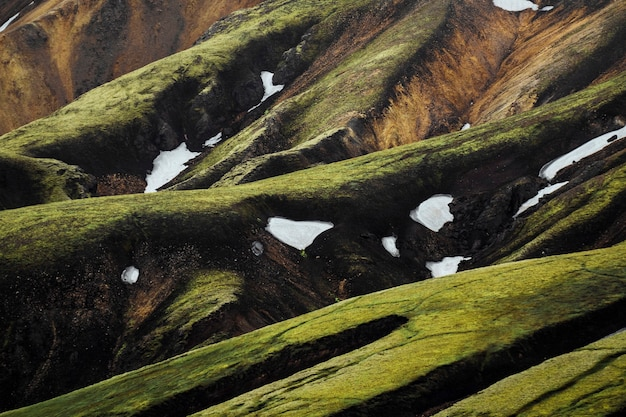 아이슬란드의 고지 인 fjallabak 자연 보호 구역에있는 landmannalaugar의 전망
