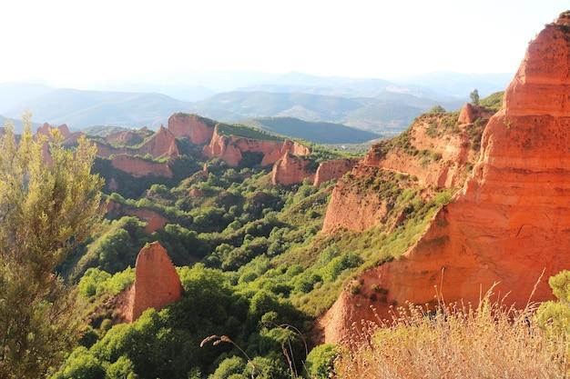 Las medulas, 스페인 레온 지방에서 골동품 금광의 전망.