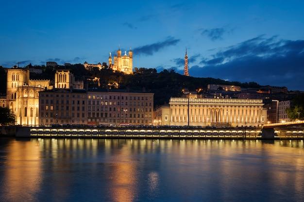 밤, 프랑스 리옹의 전망입니다. 유럽.