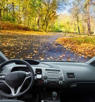스티어링 휠이있는 현대 자동차 대시 보드보기, 가을 도로