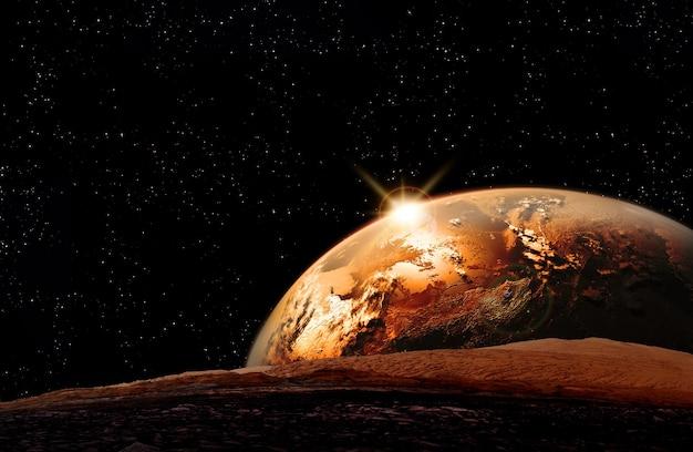 地平線に昇る地球と月の眺め