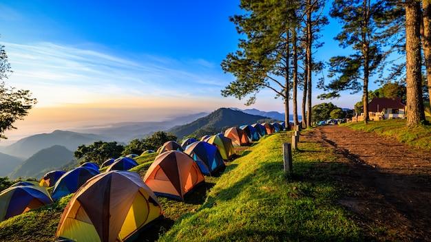 도 앙 캉 산 태국에서 아침 안개와 태양 상승의보기