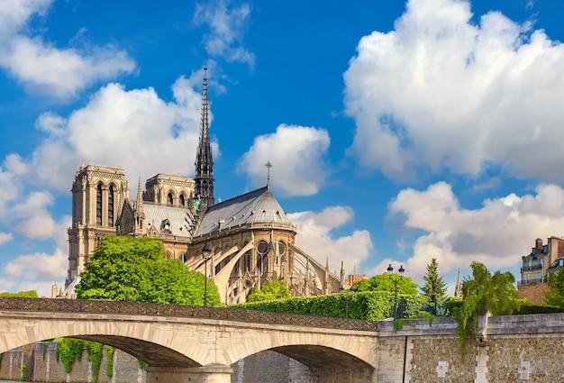 Вид на собор парижской богоматери с набережной турнель
