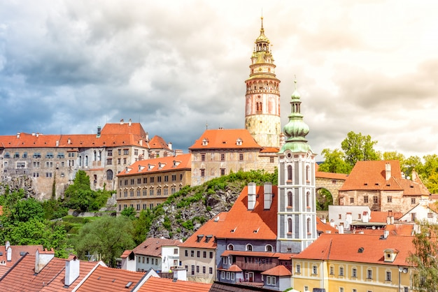 旧市街チェスキークルムロフ城の眺め。南ボヘミア地域、チェコ共和国