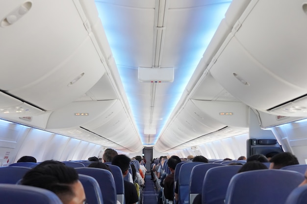飛行機内の座席の乗客のビュー