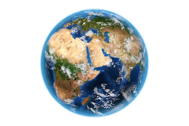 Взгляд глобуса мира земли planete из космоса на белой предпосылке. элементы этого изображения предоставлены наса. 3d рендеринг
