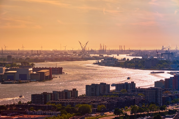ロッテルダム港とニーウマース川の眺め Premium写真