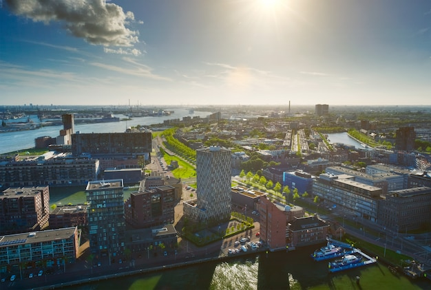 ロッテルダム港とニーウマース川の眺め