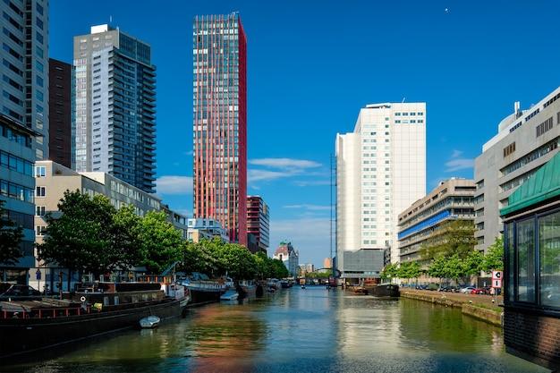 近代建築の高層ビルとロッテルダムsityscapeのビュー Premium写真