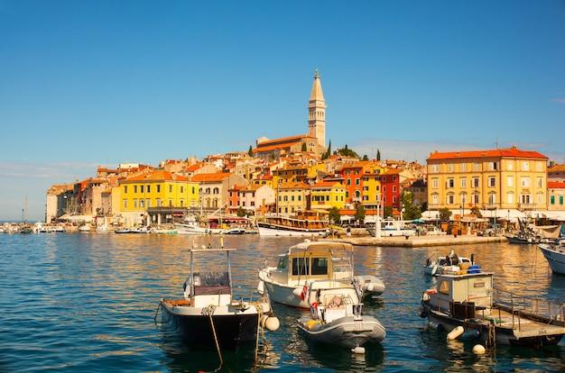 クロアチア、イストリア半島のロヴィニの小さな街の眺め