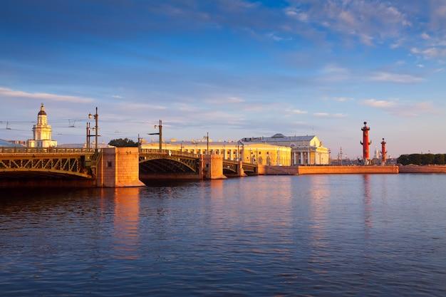 Вид на санкт-петербург. дворец мост