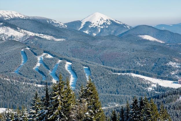 맑은 겨울 날에 스키 리조트에서 눈 덮인 산, 숲, 스키 슬로프의 전망