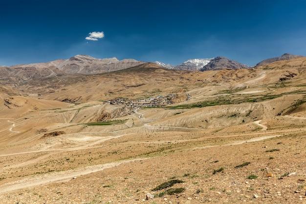 ヒマラヤのスピティ渓谷の眺め
