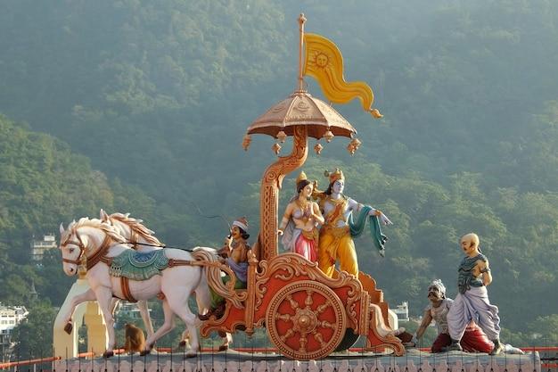 ヒンドゥー教の寺院シュリマカルヴァハニガンガジーとシタラムダムアシュラムリシケシの彫像の眺め