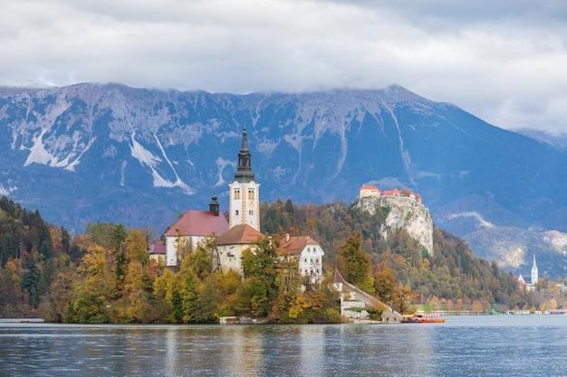 아름다운 숲 슬로베니아로 둘러싸인 놀라운 블레드 호수의 전망