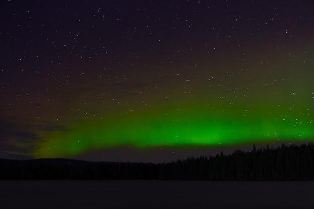 オーロラの眺め。湖の上の夜の星空のオーロラ。