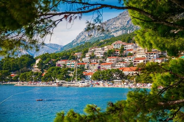 녹색 소나무, makarska riviera, 크로아티아를 통해 brela 마을의 전망