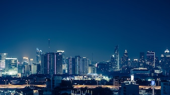 View of the business area in Bangkok at night