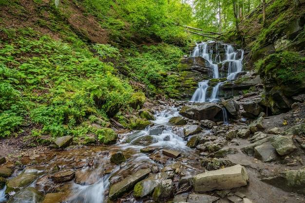 카르파티아 산맥 우크라이나에 위치한 숲 shypot 폭포의 캐스케이드 보기