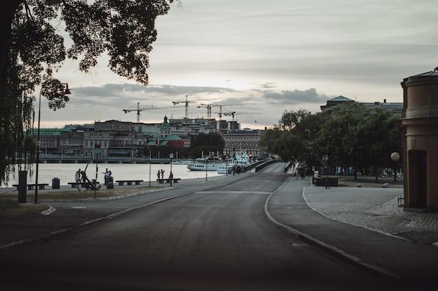 街並みの眺め。スウェーデン、ストックホルムの風景。