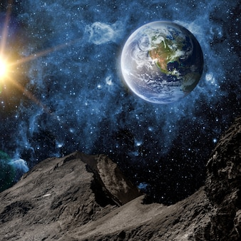 Вид на землю с луны. элементы этого изображения предоставлены наса Premium Фотографии