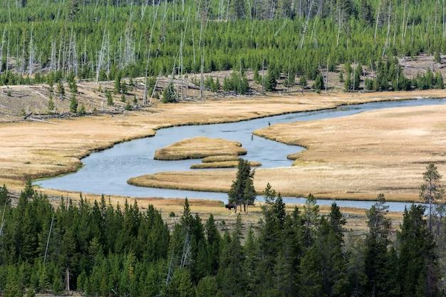 2013년 9월 28일에 옐로스톤의 firehole 강의 보기. 미확인된 사람들.