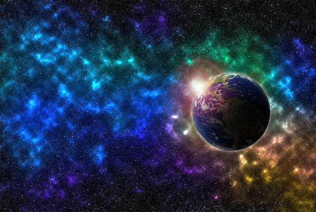 Взгляд земного шара в космическом пространстве. сияющие звезды и млечный путь. планета земля