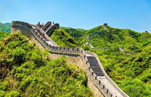Вид на великую китайскую стену в бадалинге - пекин, китай