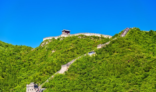 Вид на великую китайскую стену в цзююнгуань - пекин
