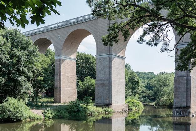 숲의 배경에 대해 강 위에 높은 다리의 전망.