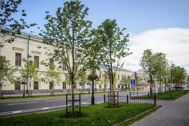 Вид на кремлевскую улицу с молодыми деревьями в солнечный летний день