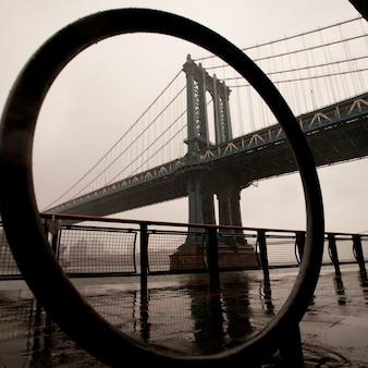맨하탄, 뉴욕시, 미국에서 맨해튼 브리지의보기