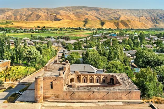 タジキスタンの歴史要塞近くの新しいマドラサの眺め
