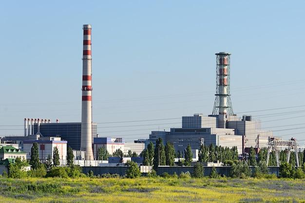原子力発電所の様子。産業景観。