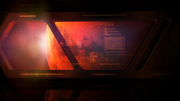 Вид на планету марс из окна космической станции с виртуальной проекцией данных.