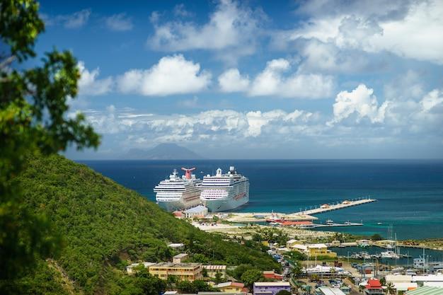 鳥の飛行からのクルーズ船のある港の眺め