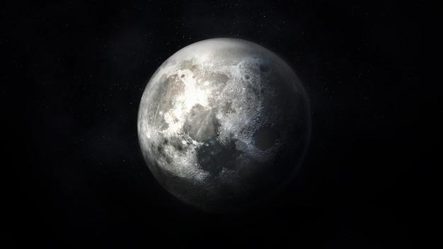 Вид на реалистичную луну в темно-серых тонах на фоне космического пространства.