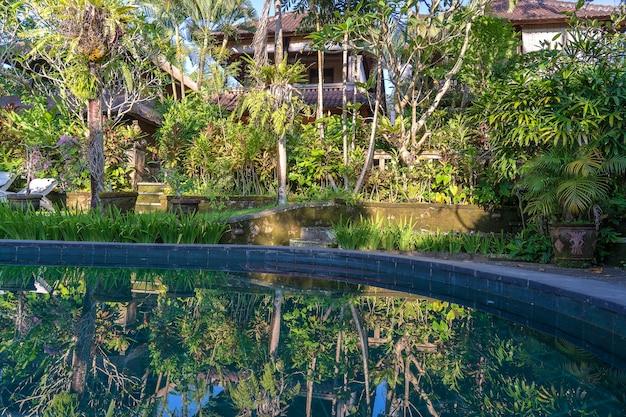 인도네시아 발리 우붓의 일출 시 아침에 열대 정원의 수영장 전망을 감상하실 수 있습니다.