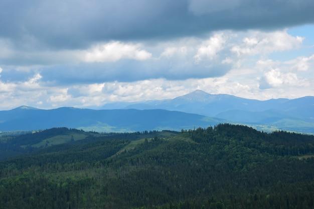 いくつかの樹木が茂った山々と雲のある空を背景に、山の頂上からの谷の眺め