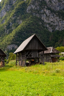 Hayracksと呼ばれる典型的な構造木材のビュー