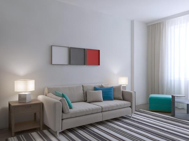 대형 카펫이있는 흰색 방의 전망.