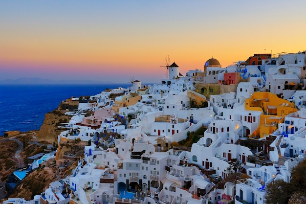 View of oia in the morning, santorini, greece