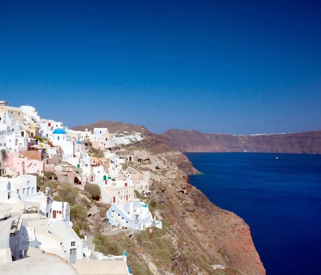 View on oia village, santorini island.