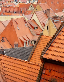 View of the old city tile houses, europe