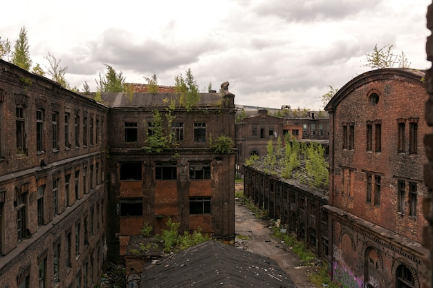 View of the old factory buildings. old brick building in loft style.